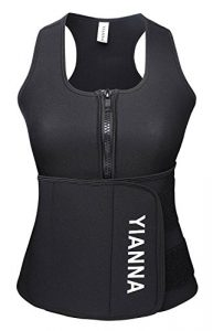 YIANNA Neoprene Sauna Suit Tank Top Vest with Adjustable Shaper Waist Trainer Belt